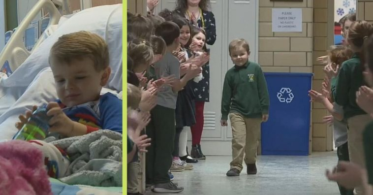 6-Year-Old Boy Gets Standing Ovation From Classmates After Beating Cancer
