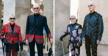 86 year old grandparents model their grandsons fashion line in Paris