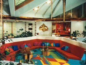 A wild futuristic house needs a wild color scheme
