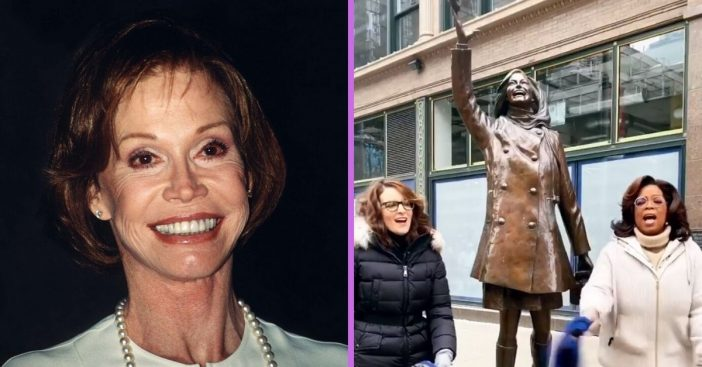 Oprah and Tina Fey pay tribute to Mary Tyler Moore by her statue