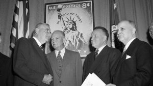 """President Dwight D. Eisenhower urged Congress to add """"under God"""" in response to state-sanctioned atheism in the Soviet Union"""