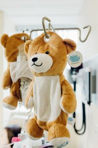 The comforting bear is designed to hide any copious amounts of scary medical equipment