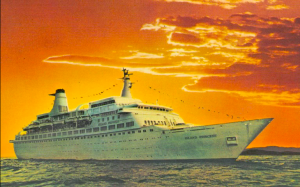Though gone now, this cruise ship still impresses people on postcards