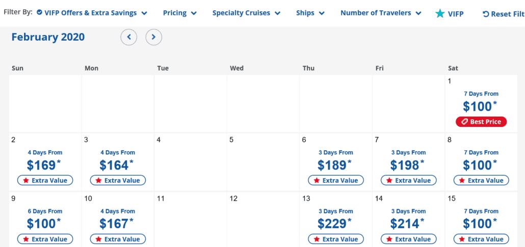 carnival cruise line pricing glitch