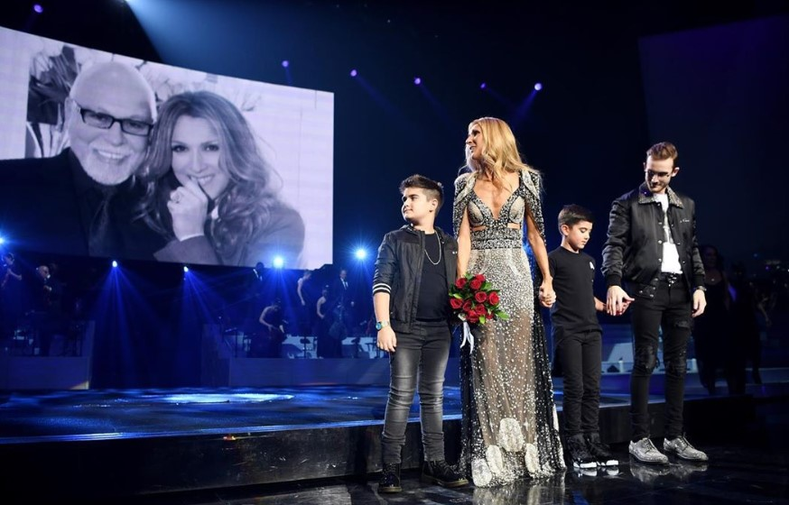 celine dion and sons tribute to René Angélil
