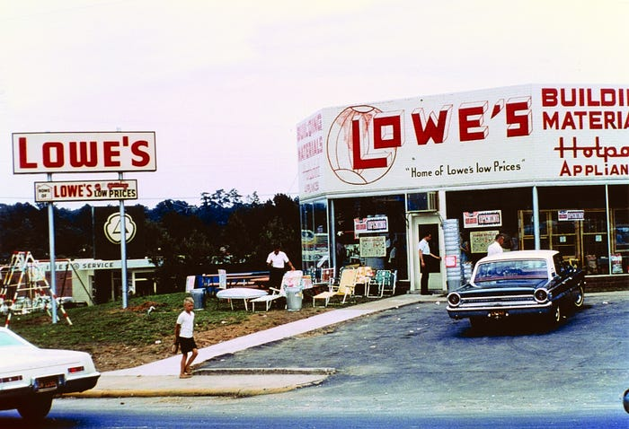 what lowe's first looked like when it opened