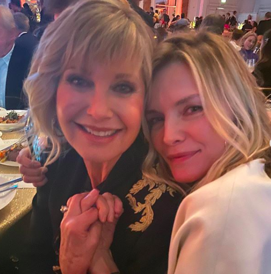 olivia newton-john shares photo with grease 2 star michelle pfeiffer