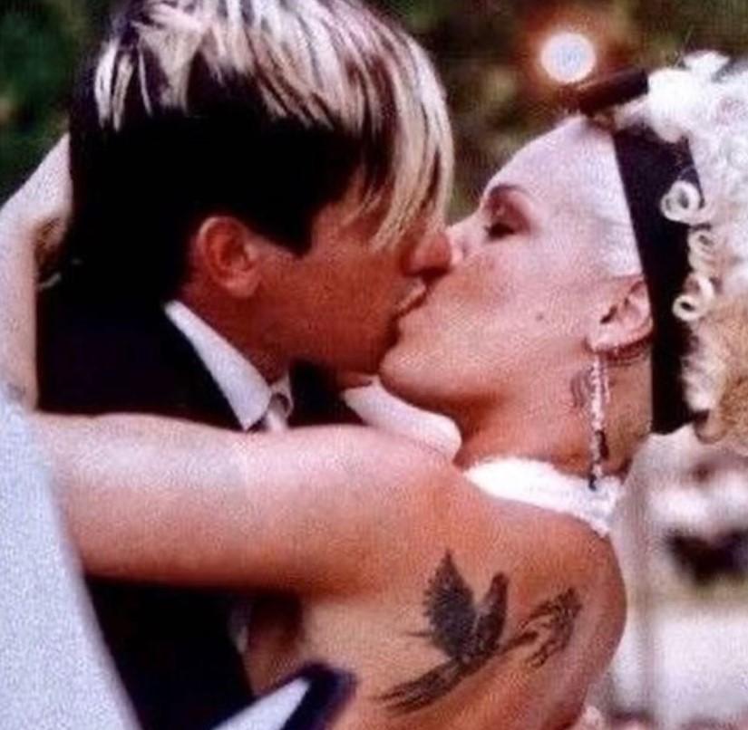 pink carey hart wedding throwback photo