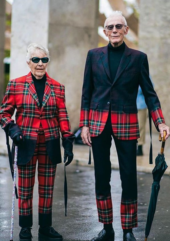 Marie-Louise and René Glémarec plaid outfits