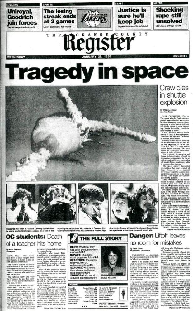 space shuttle challenger explosion 1986