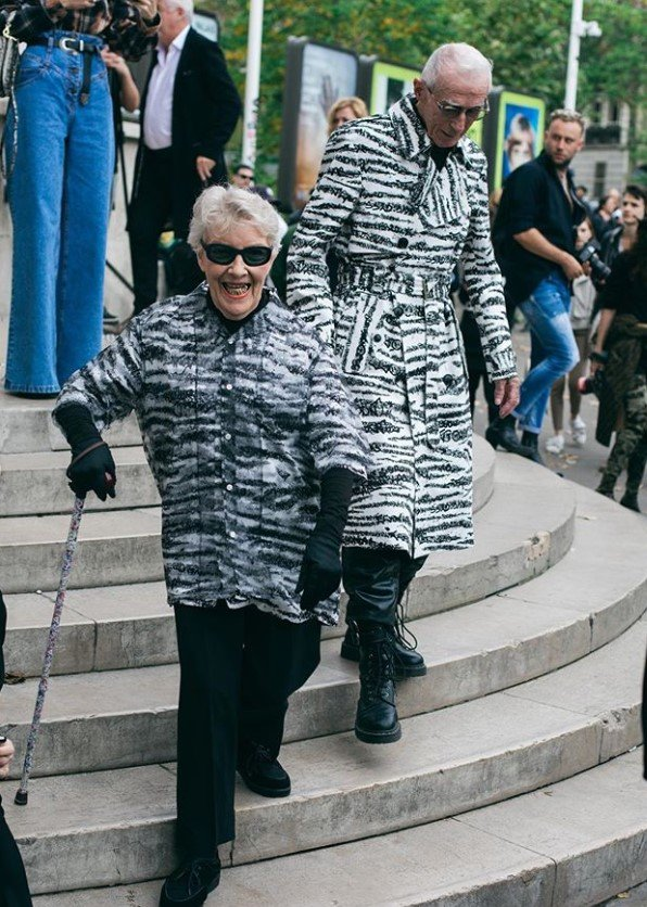 Marie-Louise and René Glémarec zebra outfits