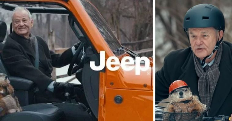 Bill Murray appeared in a Jeep Super Bowl ad with a nod to Groundhog Day