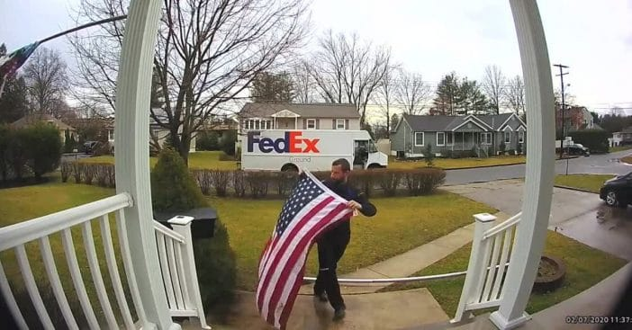 FedEx Driver Stops On His Route To Pick Up And Fold American Flag