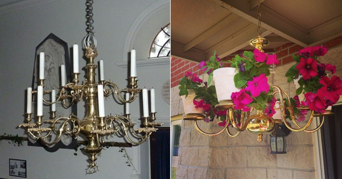 Take A Look At These Old Chandeliers Repurposed As Unique Planters