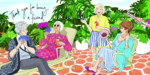 Julie Houts illustrated this 'The Golden Girls' book with both fun and nostalgia in mind