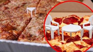 Pizza Company Adds Tiny Chairs To Tiny Table That Comes With Pizzas