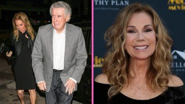 Regis Philbin presents Kathie Lee Gifford with an award
