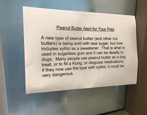 The warning specifically mentions xylitol, which causes a severe drop in blood sugar levels for dogs