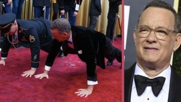 Tom Hanks Does Pushups On The Red Carpet With U.S. Army Staff Sergeant At The Oscars