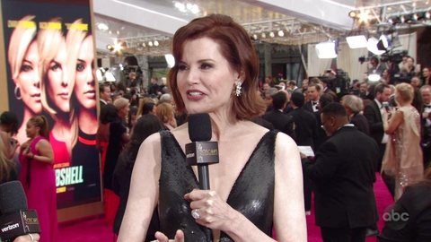 geena davis plunging gown red carpet Oscars 2020
