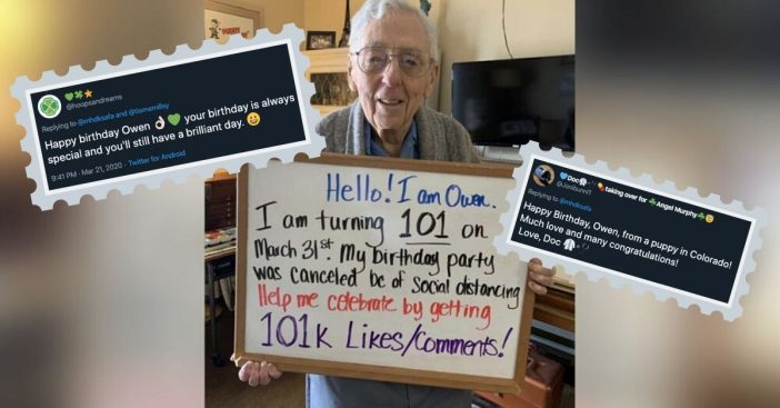 101-Year-Old Cancels Birthday Party Due To Coronavirus, Internet Chimes In To Help Out