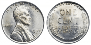 1944 saw the birth of this coin, which ended up being a hybrid of materials and techniques