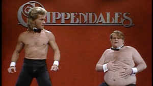 Both Swayze and Farley gave perfect performances for the Chippendales skit on 'SNL'