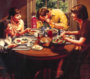 Families eating together is now a vintage concept from the 1970s