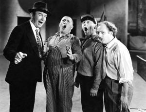 Many skits involved Healy trying to tell jokes and sing, but his three stooge assistants, Larry, Moe, and Curly, interrupted the routine