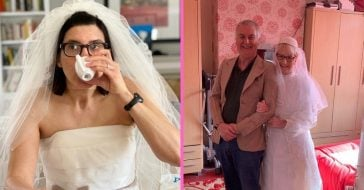 People are wearing wedding dresses at home while social distancing