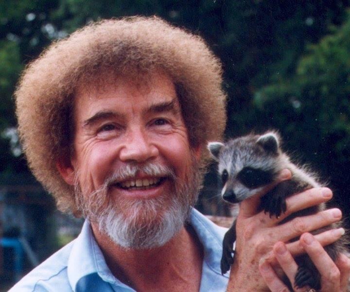 bob ross holding a raccoon