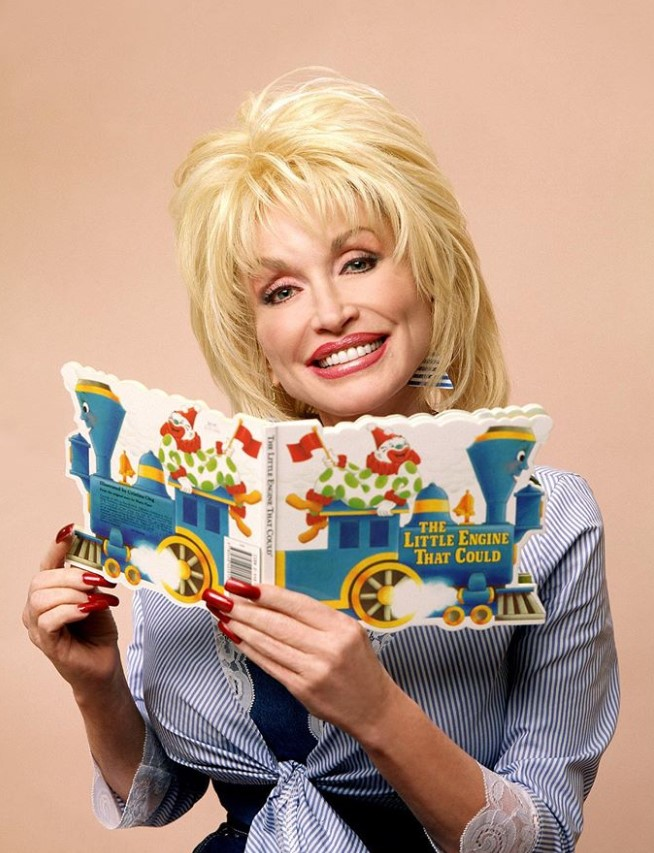 dolly reading a childrens book
