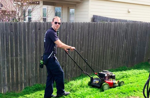 firefighters mow lawn for bryan palmer