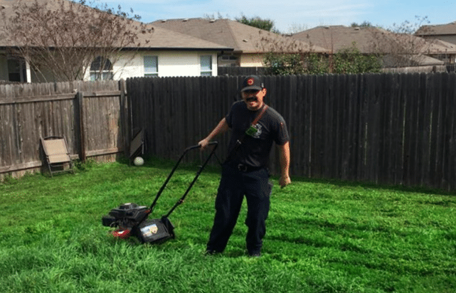 firefighters help man bryan palmer mow his lawn