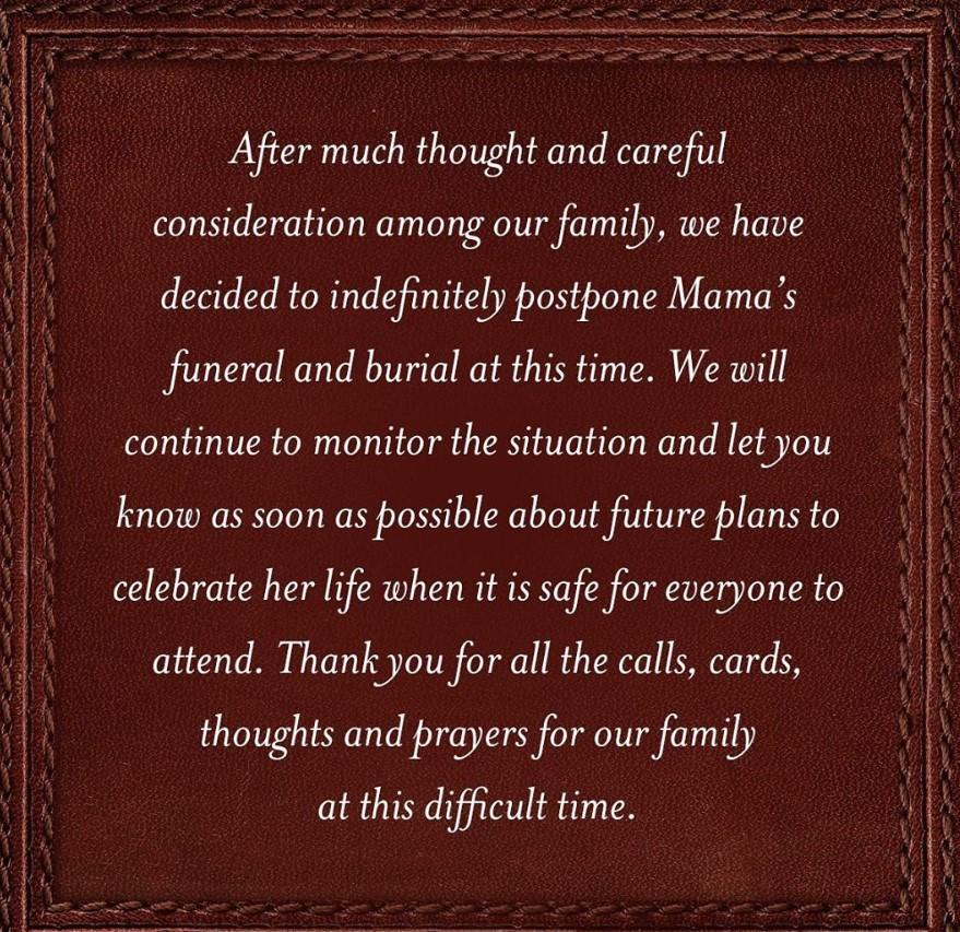 reba mother funeral postponed