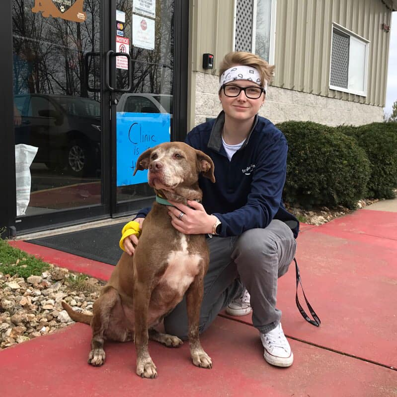 ginger and her new owner