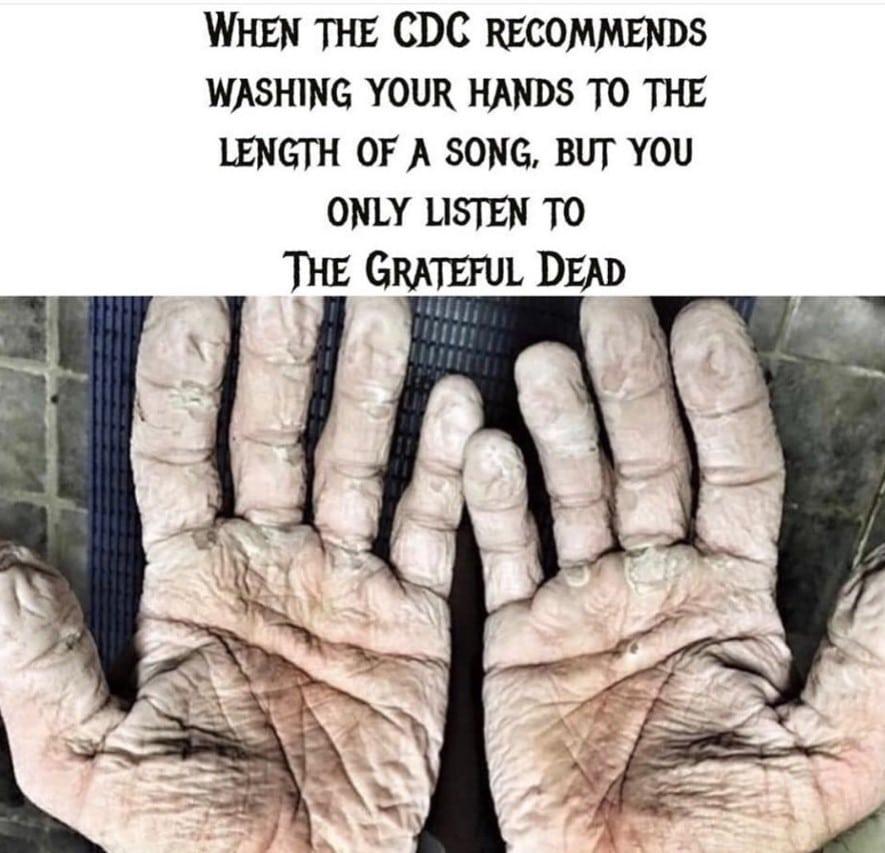 grateful dead washing hands meme