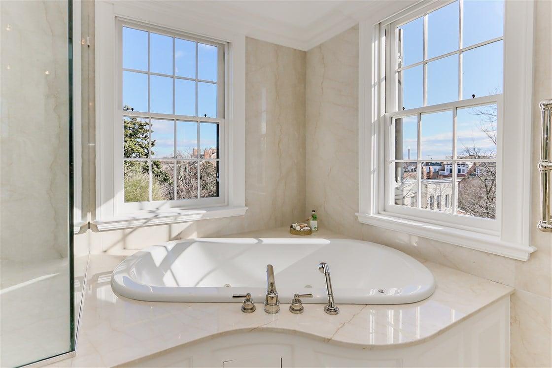 master bathroom with view bath tub