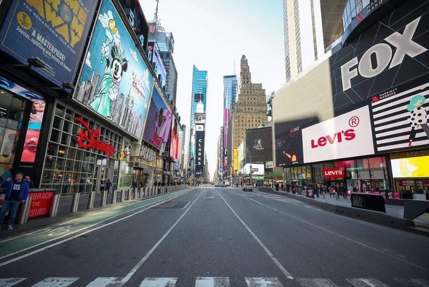 times square new york city empty