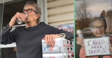 93 year old gets free beer after holding up sign saying she needed more during quarantine