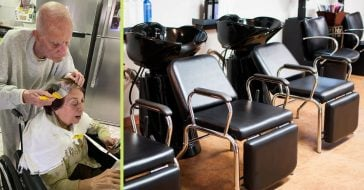 Because his wife can't go to the salon, one old man took matters into his own hands