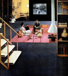 Conversation pits sat in an open room usually with a small bit of stairs to get to the sunken sitting area