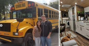 Couple transforms school bus into beautiful tiny home