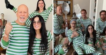 Demi Moore and Bruce Willis wearing matching pajamas