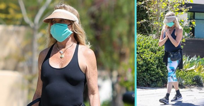 Goldie Hawn threw on a face mask and got back to her walking routine