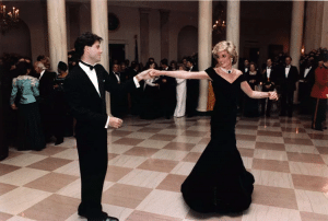 Princess Diana wearing her blue dress and dancing with John Travolta became a very famous image