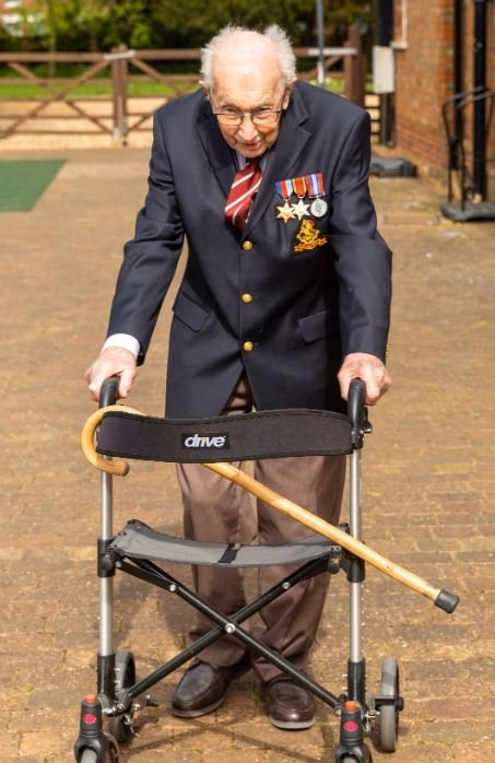 99 year old tom moore raises over $8 million walking laps