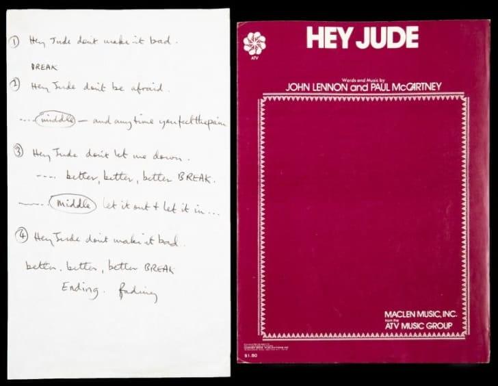 handwritten hey jude lyrics paul mccartney