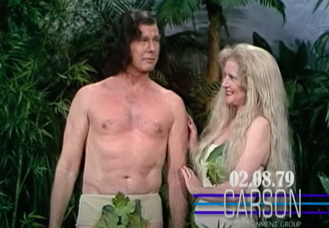 Johnny Carson and Betty White in 'Adam and Eve' skit 1979
