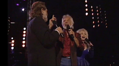 "Kenny Rogers, Dolly Parton, Willie Nelson perform ""Lean On Me"""